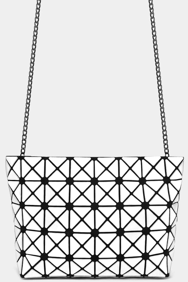 White Geometric Quilted Rhombus Shoulder Bag - SinglePrice