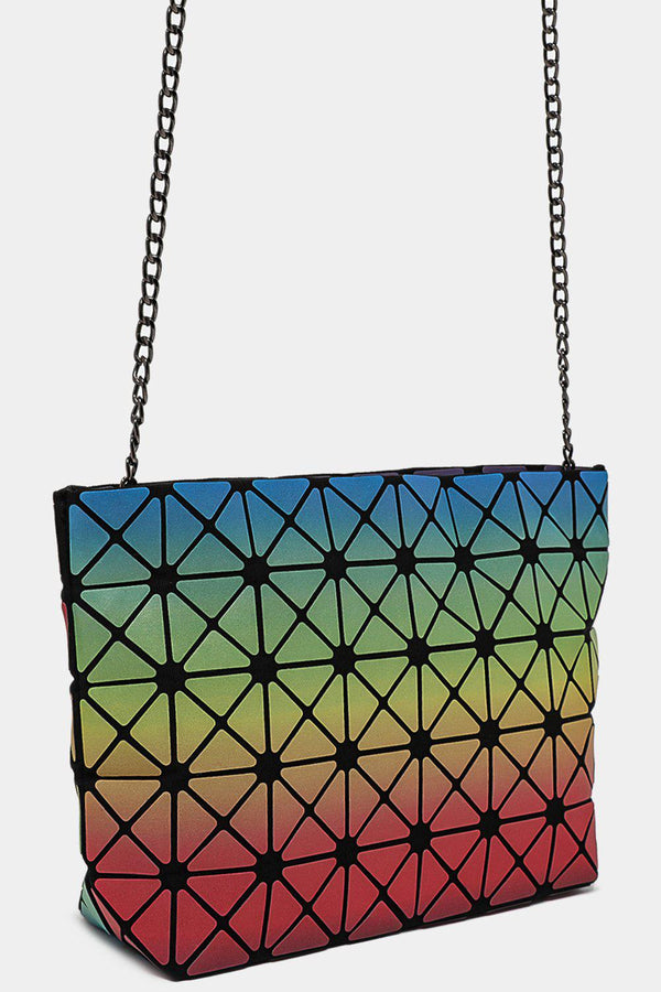 Multicolour Geometric Quilted Rhombus Shoulder Bag - SinglePrice