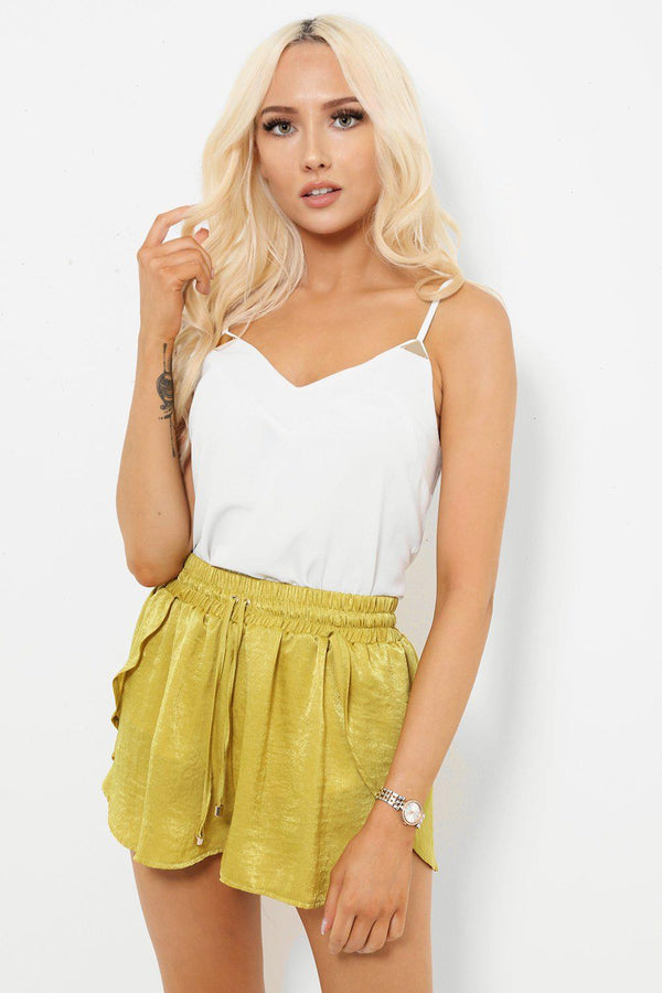 Crushed Satin Mustard Light Green Shorts - SinglePrice