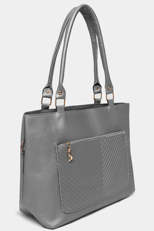 Silver Chevron Quilt Front Pocket Large Tote Bag-SinglePrice
