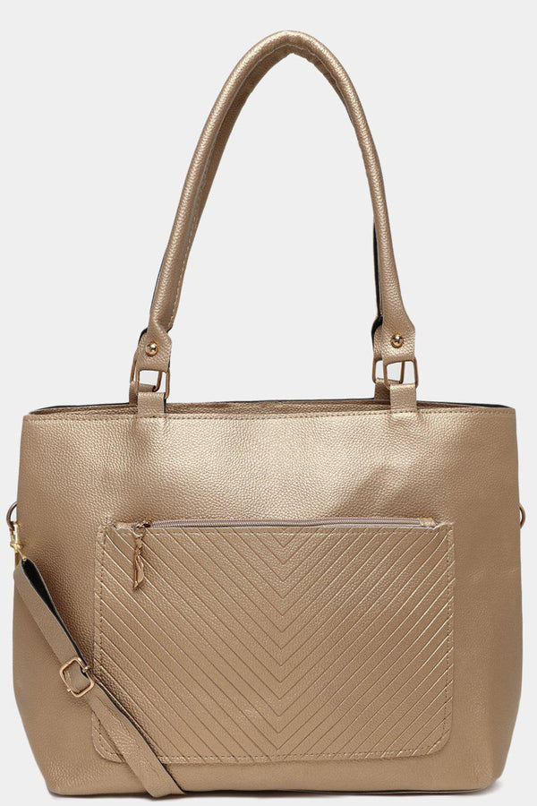 Gold Chevron Quilt Front Pocket Large Tote Bag-SinglePrice