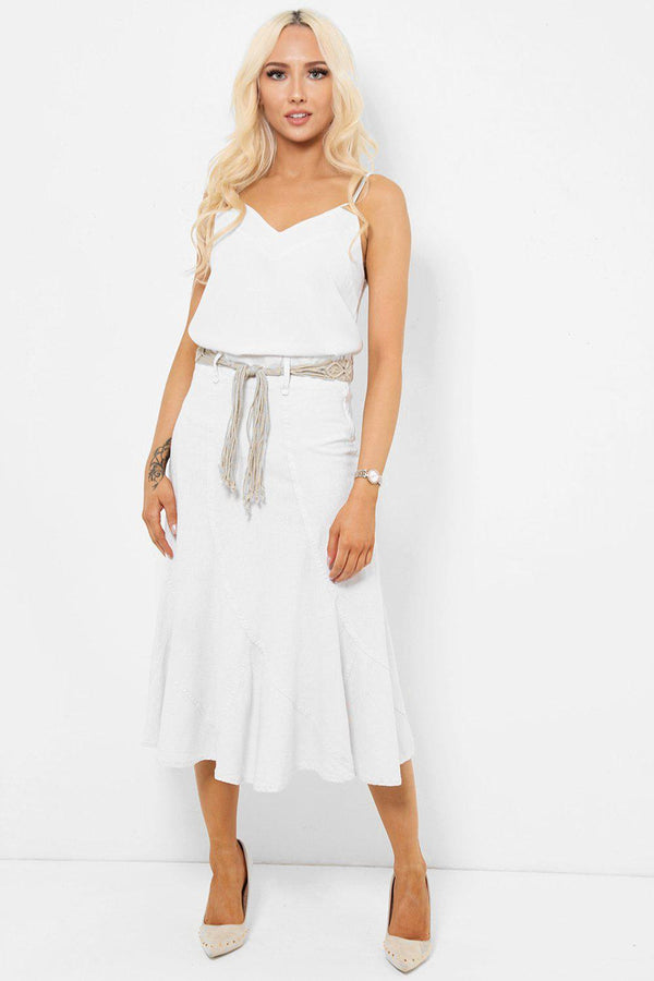 White Linen Skirt With Macrame Belt-SinglePrice