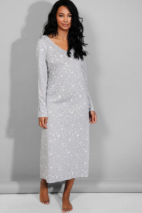 Grey Star Print Maxi Nighty - SinglePrice