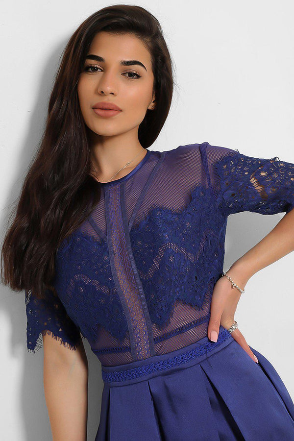 Royal Blue Lace Net Top Satin Pleated Skirt A-Line Dress-SinglePrice