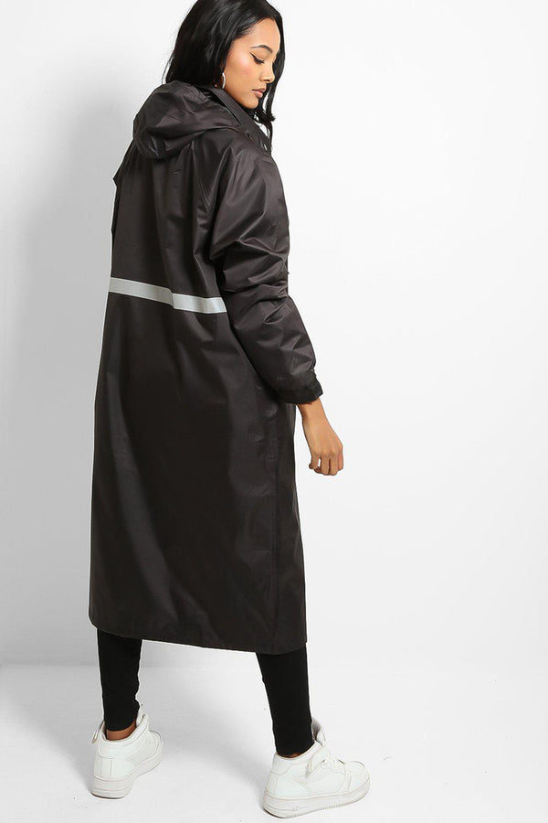 Black Reflective Strap Oversized Raincoat Windbreaker - SinglePrice