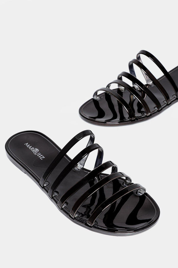 Black Strappy Flat Sandals-SinglePrice