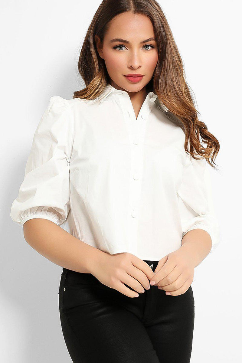 White Puff Sleeves Cropped Shirt - SinglePrice