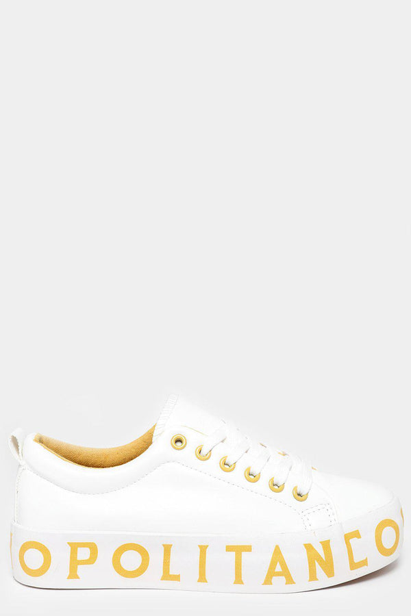 Yellow Cosmopolitan Print White Trainers-SinglePrice