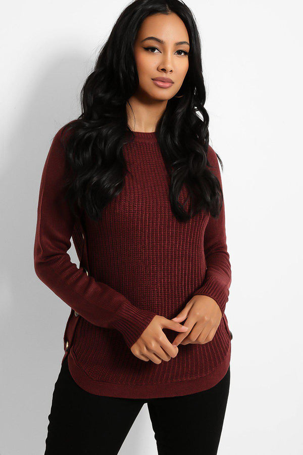 Burgundy Button Side Details Rib Knit Pullover - SinglePrice