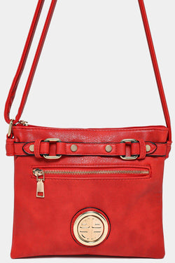 Red Buckle Top Detail Mini Messenger Bag - SinglePrice
