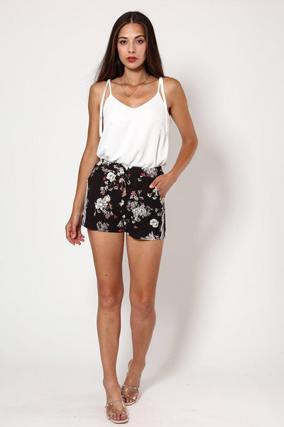 Side Stripe Black Floral Print Shorts-SinglePrice