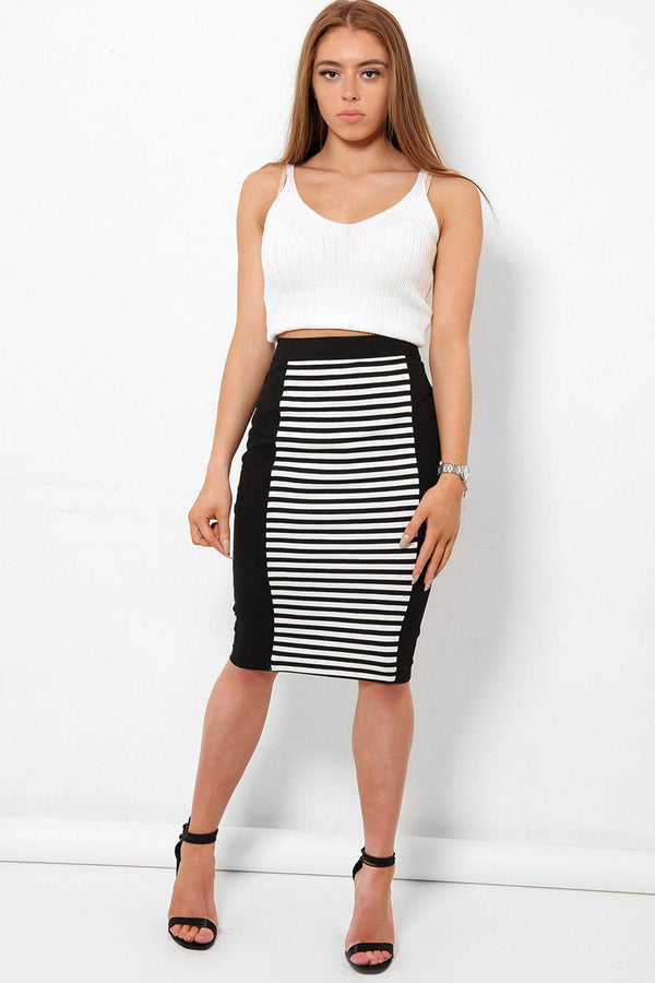 Stripy Panel Midi Skirt - SinglePrice