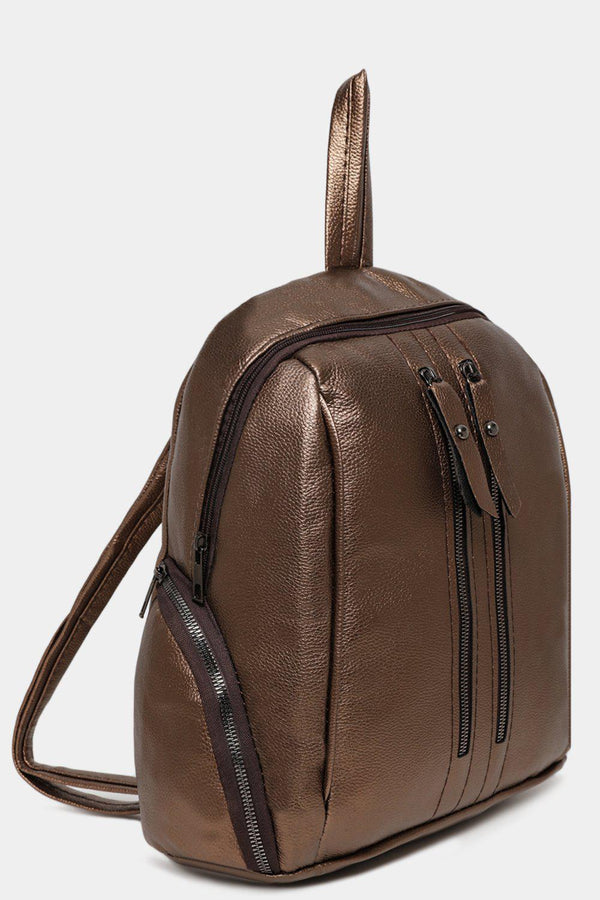 Bronze Dual Zip Detail Vegan Leather Backpack-SinglePrice