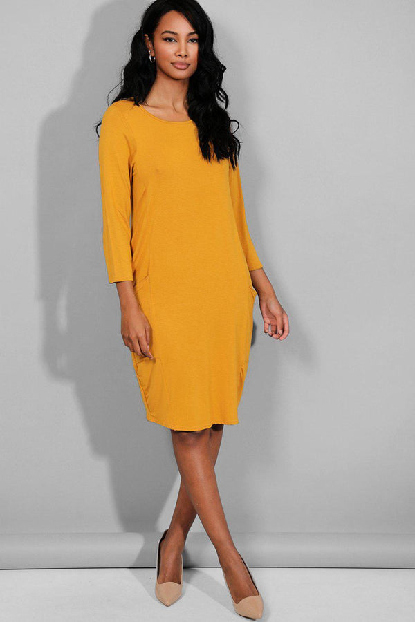 Mustard Side Pockets Midi Dress