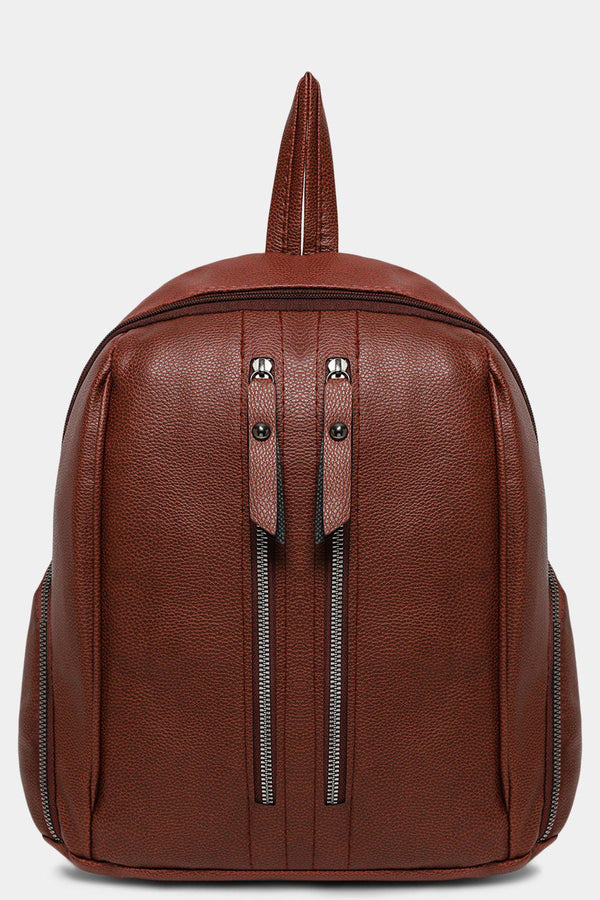 Brown Dual Zip Detail Vegan Leather Backpack-SinglePrice