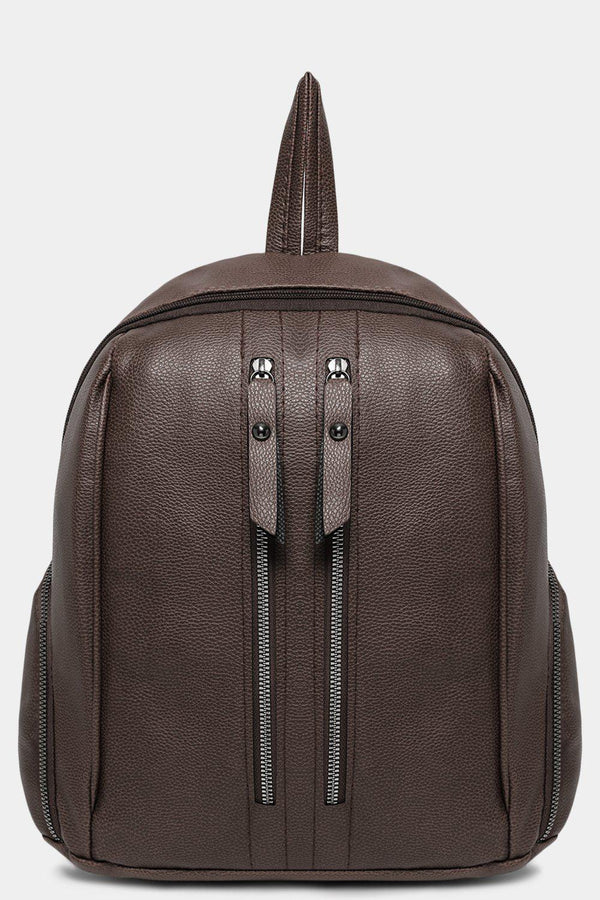 Taupe Dual Zip Detail Vegan Leather Backpack-SinglePrice