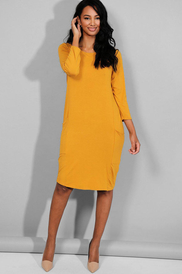 Mustard Side Pockets Midi Dress-SinglePrice