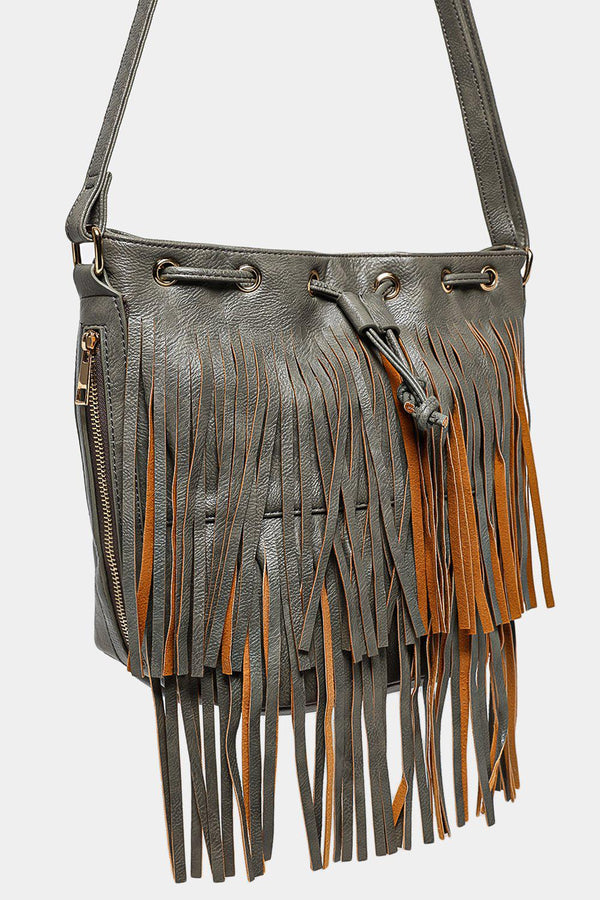 Charcoal Drawstring Top Tasseled Shoulder Bag-SinglePrice