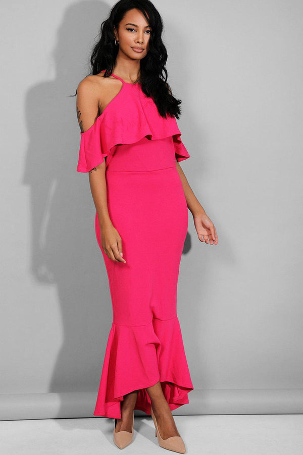 Hot Pink Halter Neck Cold Shoulder Maxi Dress-SinglePrice