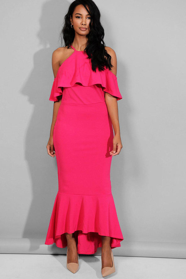 Hot Pink Halter Neck Cold Shoulder Maxi Dress