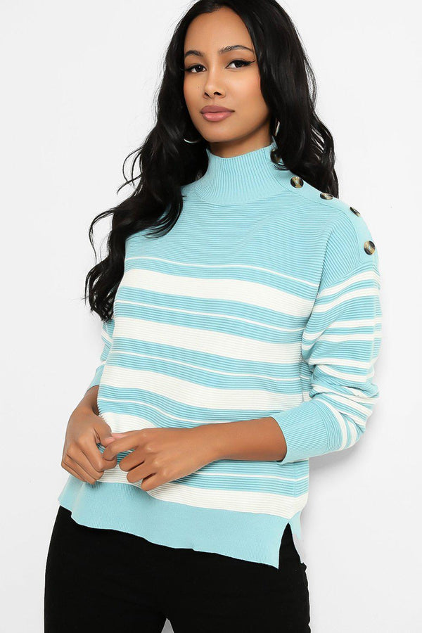 Turquoise High Button Neck Stripy Jumper - SinglePrice