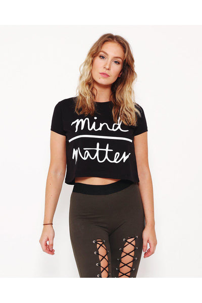 Black Cropped Slogan T-Shirt-SinglePrice