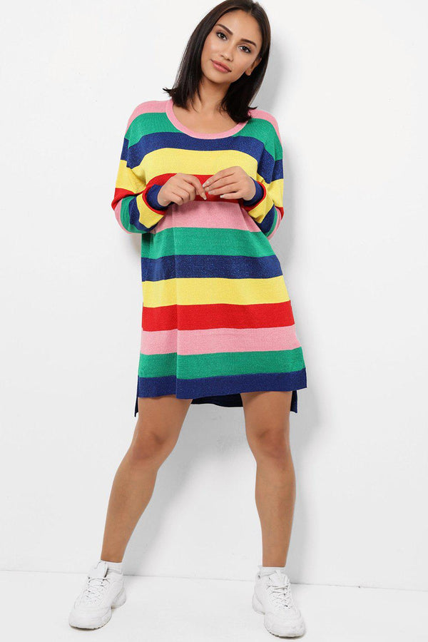 Multicolour Knitted Sweater Dress-SinglePrice