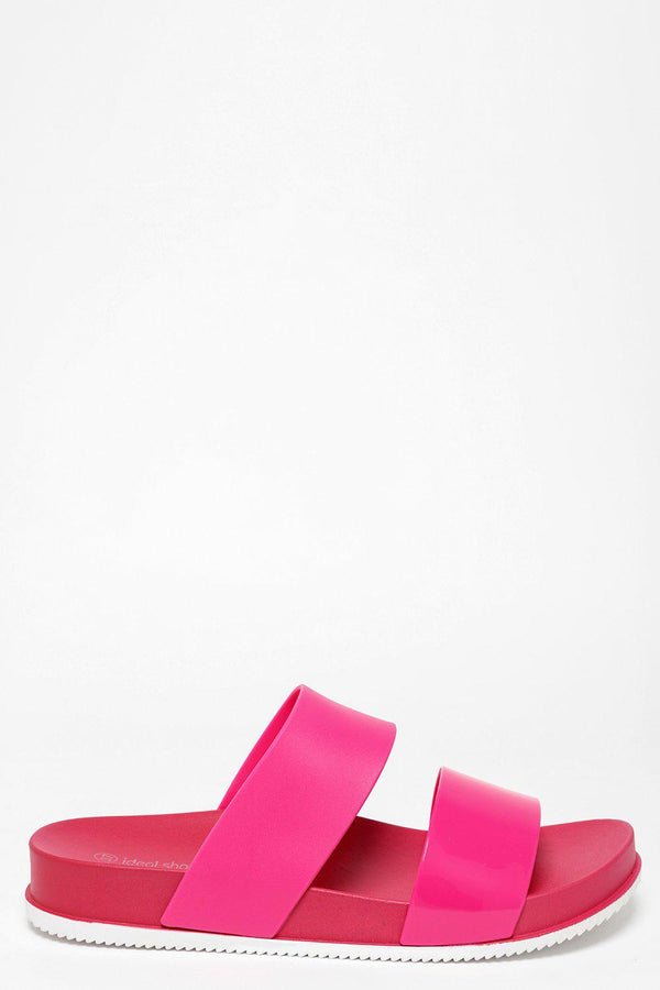 White Sole Double Strap Rose Red Sliders - SinglePrice