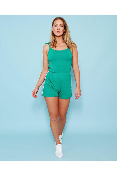 Green Shoulder Tie Up Playsuit-SinglePrice