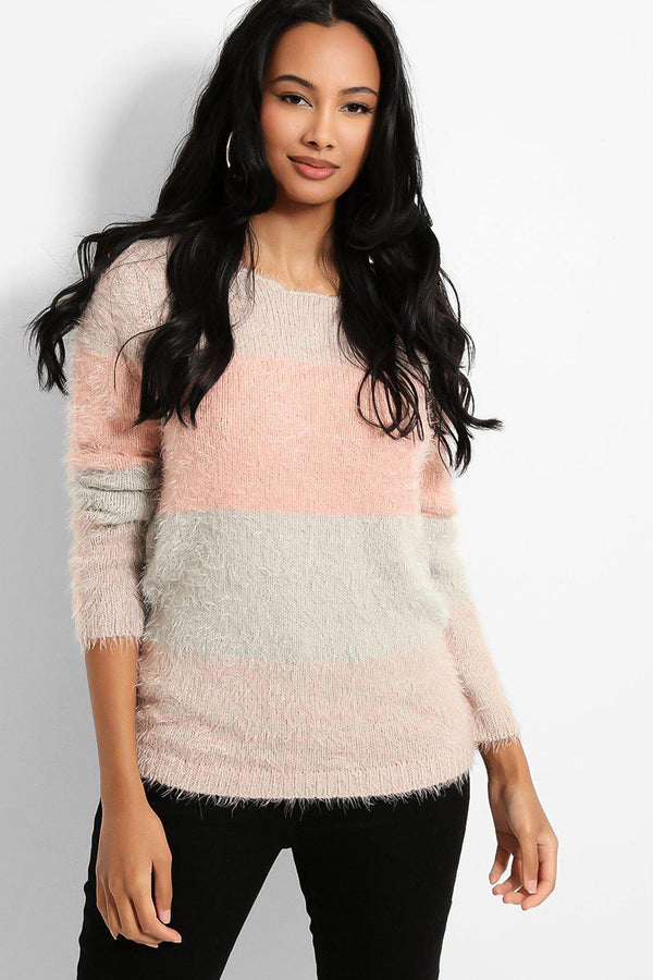 Pink Grey Colour-Block Fluffy Knit Pullover - SinglePrice