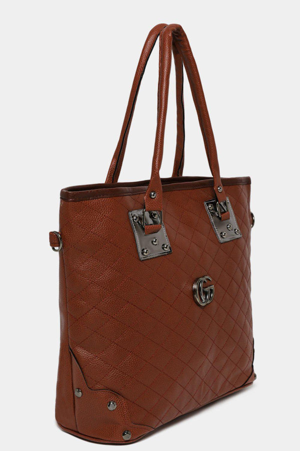 Brown Vegan Leather Quilted Front Large Tote Bag-SinglePrice