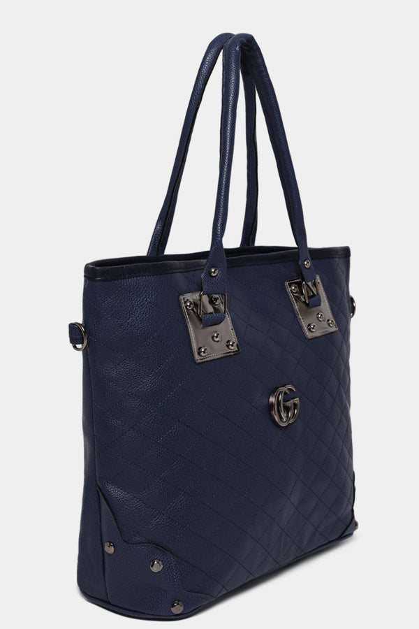 Navy Vegan Leather Quilted Front Large Tote Bag-SinglePrice