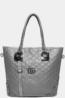 Silver Vegan Leather Quilted Front Large Tote Bag-SinglePrice