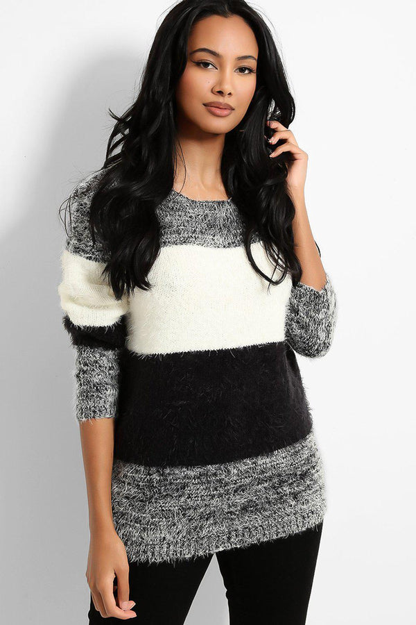 Black White Colour-Block Fluffy Knit Pullover-SinglePrice