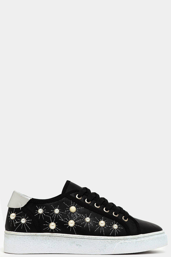 Black Pearls Embellished Vegan Leather Trainers-SinglePrice