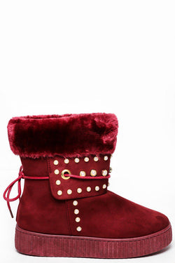 Pearl Studs Embellished Wine Red Winter Boots - SinglePrice