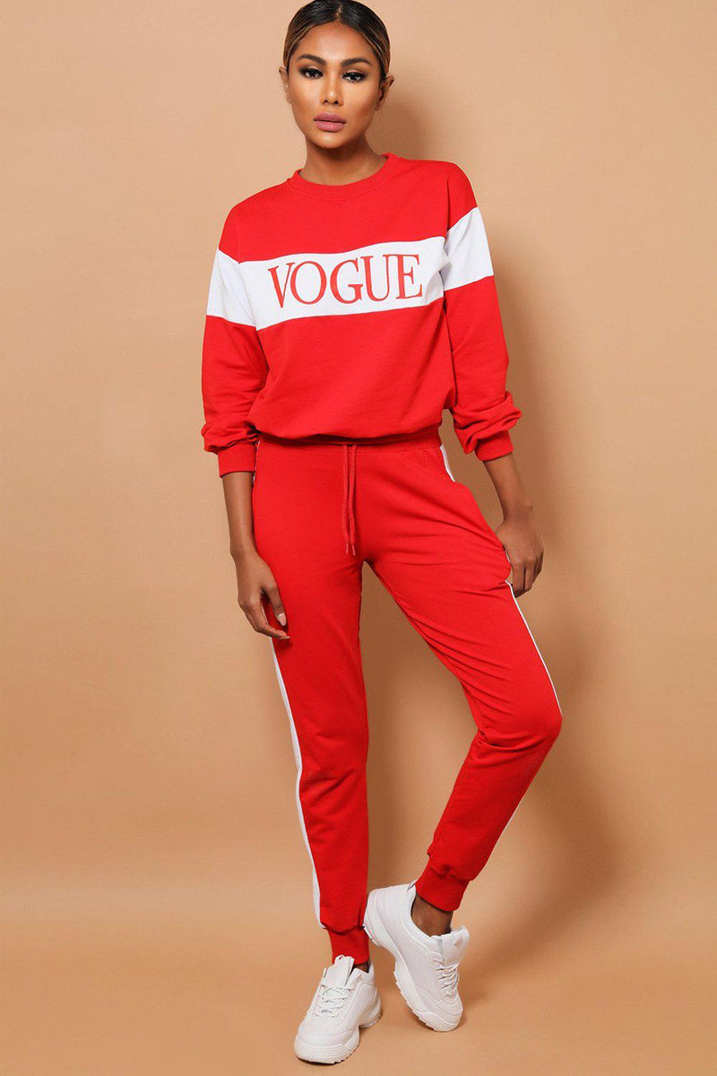 Red White Slogan Cotton Blend 2 Piece Tracksuit - SinglePrice