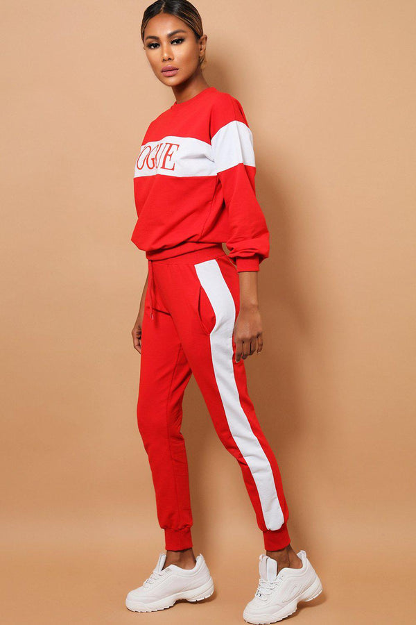 Red White Slogan Cotton Blend 2 Piece Tracksuit-SinglePrice