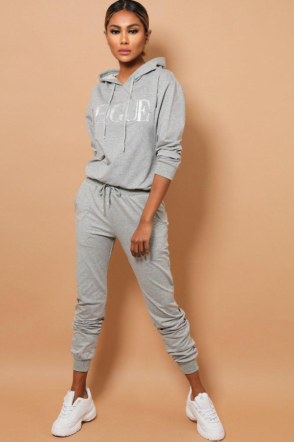 Grey Slogan Front Hooded 2 Piece Tracksuit-SinglePrice