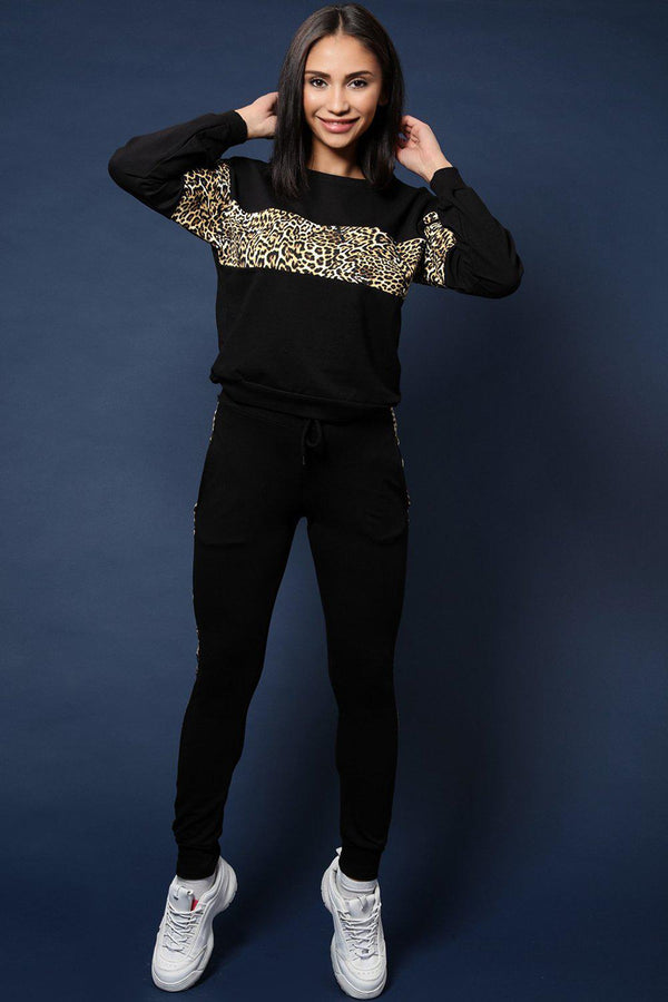 Leopard Stripe Detail Black Cotton Blend 2 Piece Tracksuit - SinglePrice