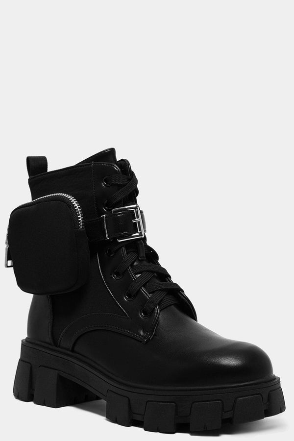 Black Vegan Leather Pouch Detail Chunky Ankle Boots-SinglePrice