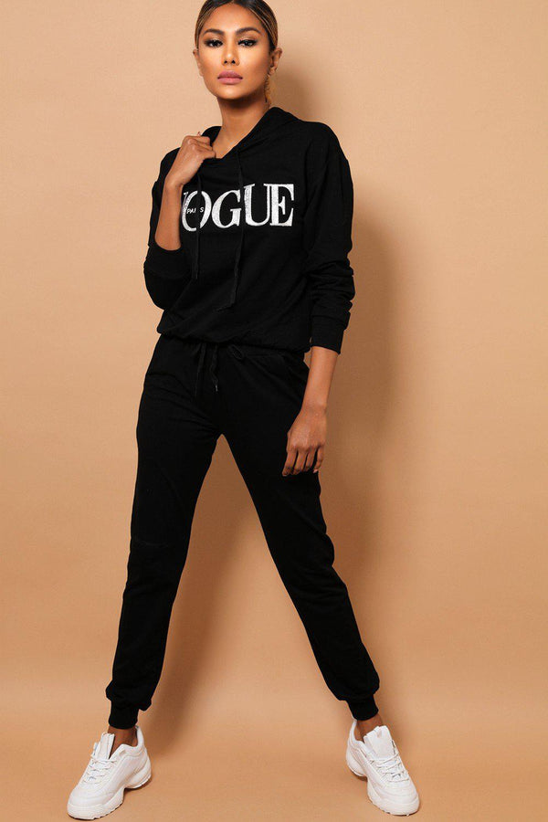 Black Slogan Front Hooded 2 Piece Tracksuit-SinglePrice