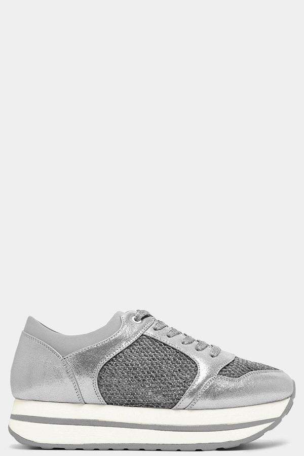Shimmer Silver Net Panels Chunky Flatform Trainers-SinglePrice