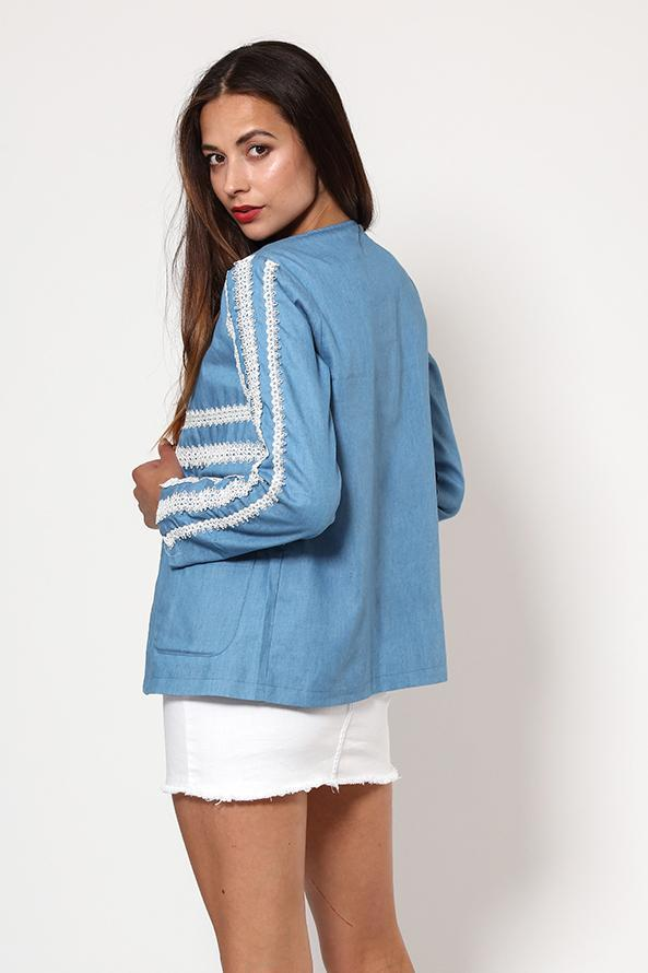 White Lace Detailing Blue Open Blazer-SinglePrice