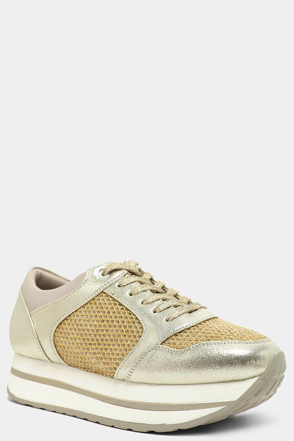 Shimmer Gold Net Panels Chunky Flatform Trainers-SinglePrice