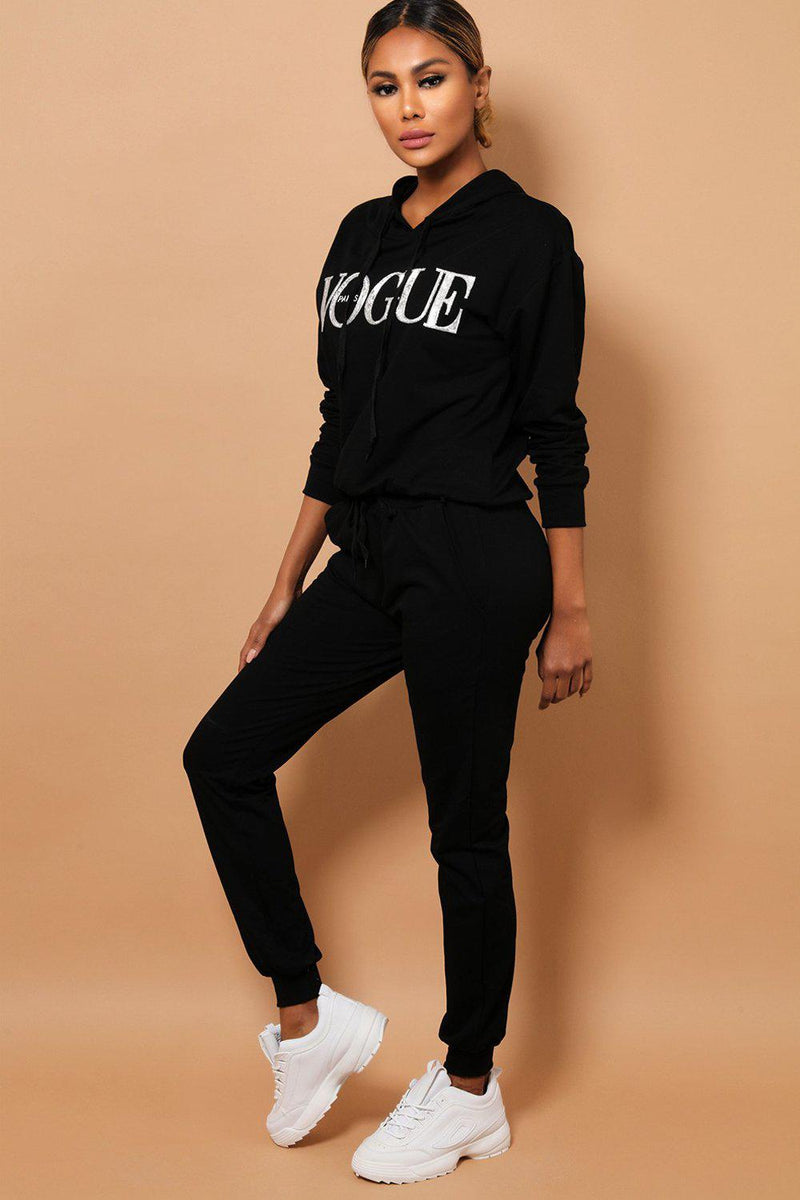 Black Slogan Front Hooded 2 Piece Tracksuit - SinglePrice