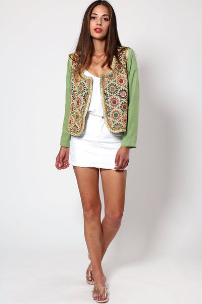 Gold Lace Trim Green Embroidered Open Blazer-SinglePrice