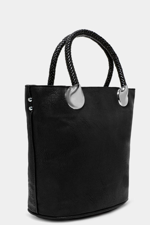 Black Aged Vegan Leather Scarf Detail Bucket Bag-SinglePrice