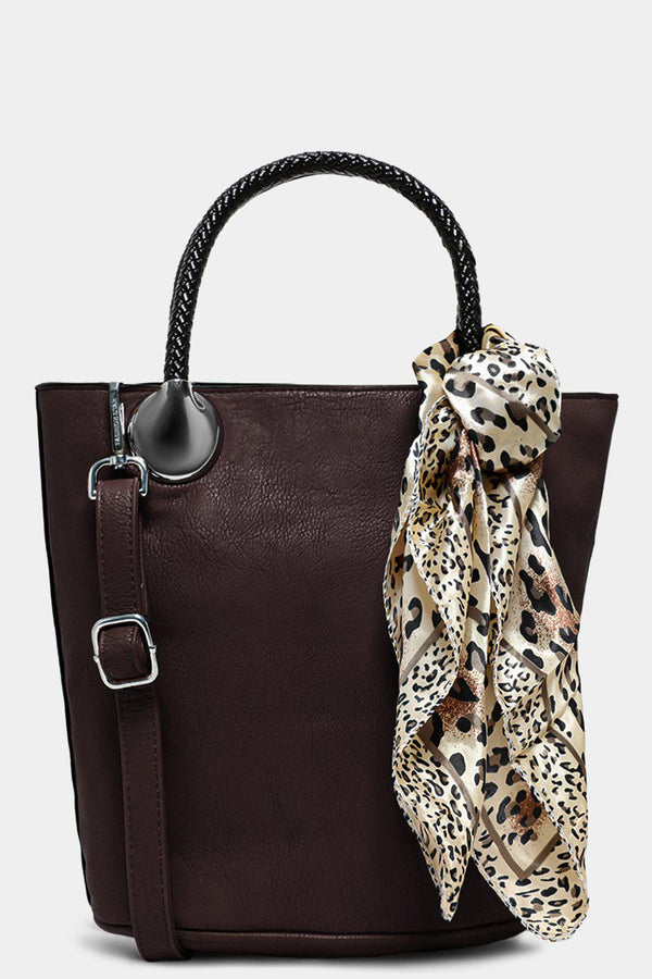 Coffee Aged Vegan Leather Scarf Detail Bucket Bag