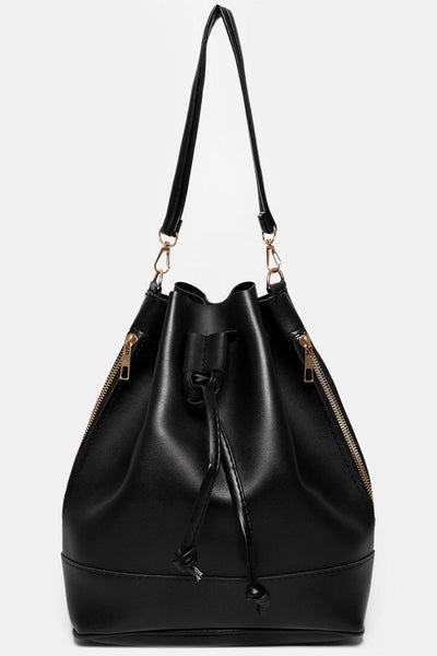 Black Drawstring Top Backpack Handbag-SinglePrice